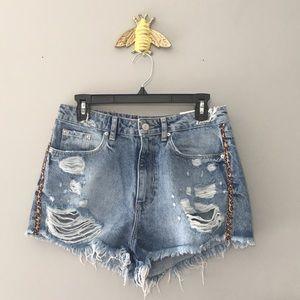 BNWT Zara High Waisted Jean Shorts